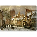 Willem Koekkoek 'A Winter Street Scene' Stretched Canvas Art