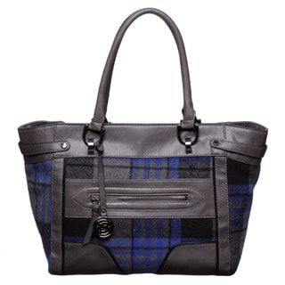 London Fog Ashford Grey/ Blue Plaid Tote