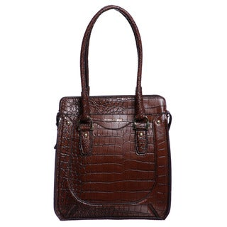 London Fog Baron Mahogany Croco Embossed Tote Bag