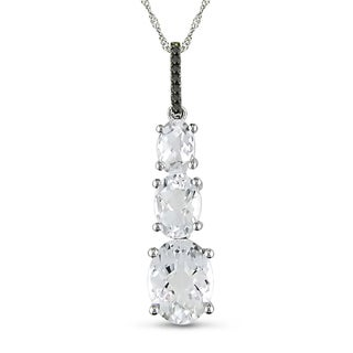 Miadora 14k White Gold Topaz and Black Diamond Necklace
