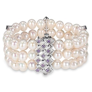 Miadora Sterling Silver Pearl and Amethyst Bracelet (7.5-8 mm)