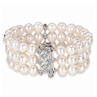 Miadora Sterling Silver Pearl and Blue Topaz Bracelet (7.5-8 mm)