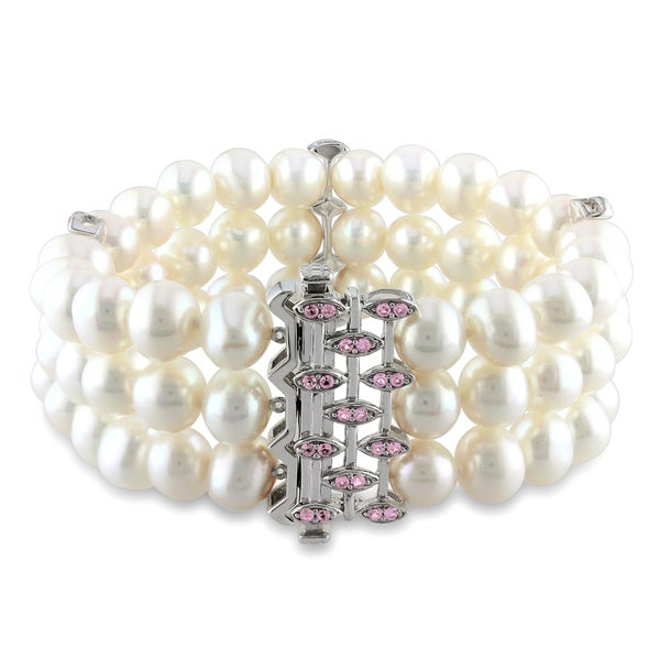 Miadora Sterling Silver Cultured Freshwater Pearl and Created Pink Sapphire Bracelet (7.5-8 mm)