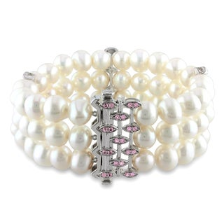 Miadora Sterling Silver Pearl and Created Pink Sapphire Bracelet (7.5-8 mm)