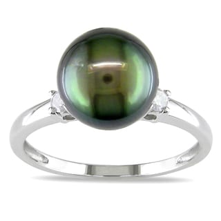 Miadora 10k Gold Tahitian Pearl and 1/10ct TDW Diamond Ring (H-I, I2-I3)