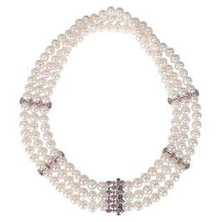 Miadora Sterling Silver Pearl and Created Pink Sapphire Necklace (7.5-8 mm)
