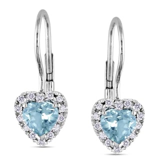 Miadora Silver Aquamarine and 1/6ct TDW Diamond Earrings (H-I, I2-I3)