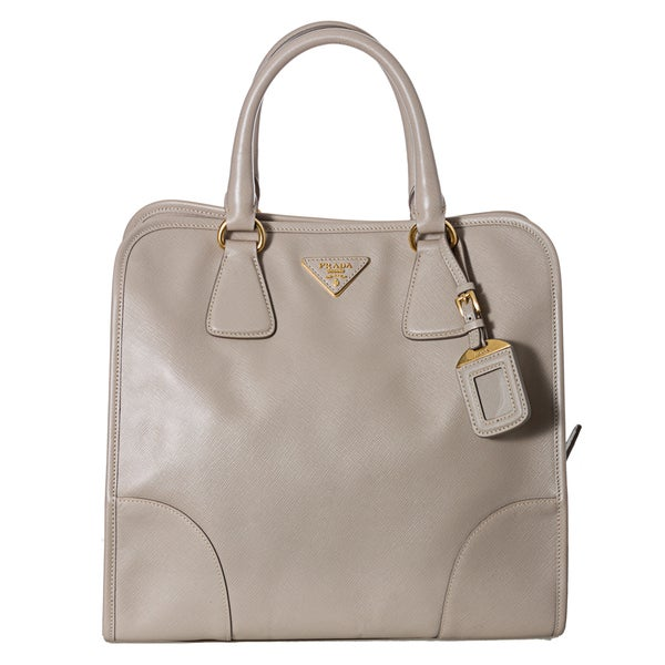 Prada Beige Saffiano Leather Tote Bag