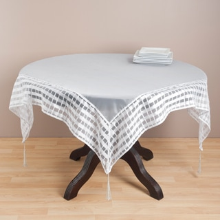Striped Border Tasseled Corner 80-inch Sheer Tablecloth