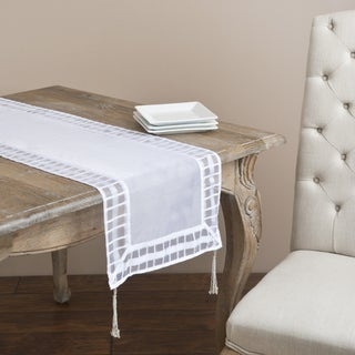 Striped Border Tasseled Corner 72-inch Sheer Table Runner