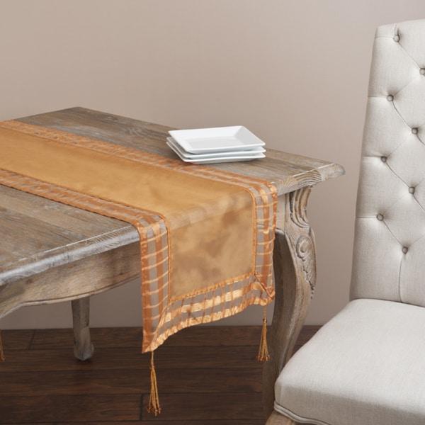 Cappuccino Striped Border Tasseled Corner 72-inch Table Sheer Runner