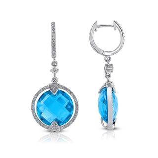 14k White Gold Blue Topaz and 1/3ct TDW Diamond Earrings (I-J, I1-I2)