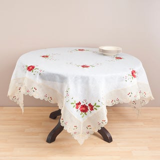 Ecru Embroidered 72-inch Tablecloth