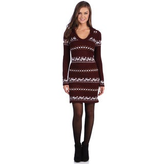 White Mark Women's 'Geneva' Long-Sleeved Deer-Accent Hooded Sweaterdress