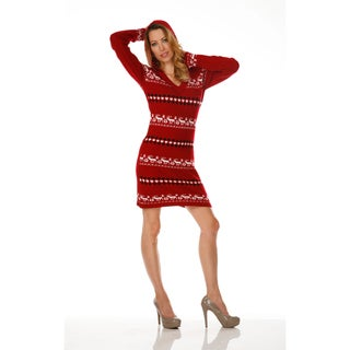 White Mark Women's 'Geneva' Deer Accented Hooded Pullover Sweaterdress