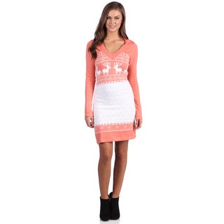 White Mark Women's 'Boston'  Peach Deer-Pattern Hooded Sweaterdress
