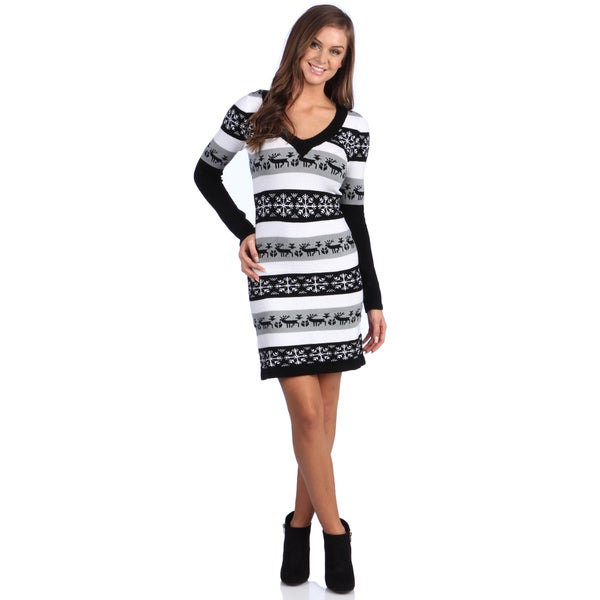 White Mark Women's 'Washington' Deer and Snowflake Pattern Long-Sleeve Sweaterdress