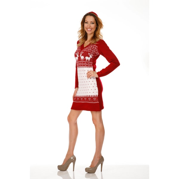 White Mark Women's 'Boston' Deer Pattern Hooded Sweaterdress