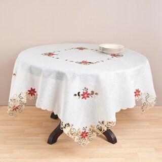 Ecru Embroidered Cutwork 72-inch Tablecloth