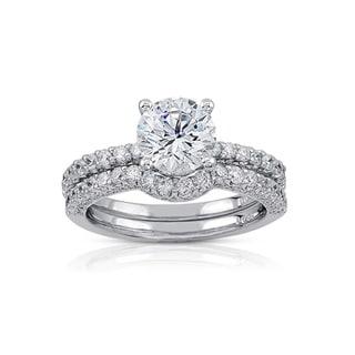 Victoria Kay 14k Gold 7/8ct TDW Diamond and CZ Center Bridal Ring Set (I-J, I1-I2)