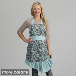 Chocolate Flower and Blue Polka Dot Reversible Apron