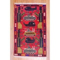 Afghan Hand-knotted Tribal Balouchi Red/ Navy Wool Rug (3'2 x 5'2)