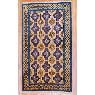 Persian Hand-knotted Tribal Balouchi Gold/ Navy Wool Rug (3'6 x 5'10)