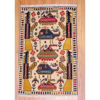 Afghan Hand-knotted Tribal Balouchi Ivory/ Gold Wool Rug (3'3 x 5')