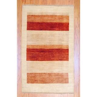 Afghan Hand-knotted Vegetable Dye Beige/ Red Wool Rug (3' x 5')