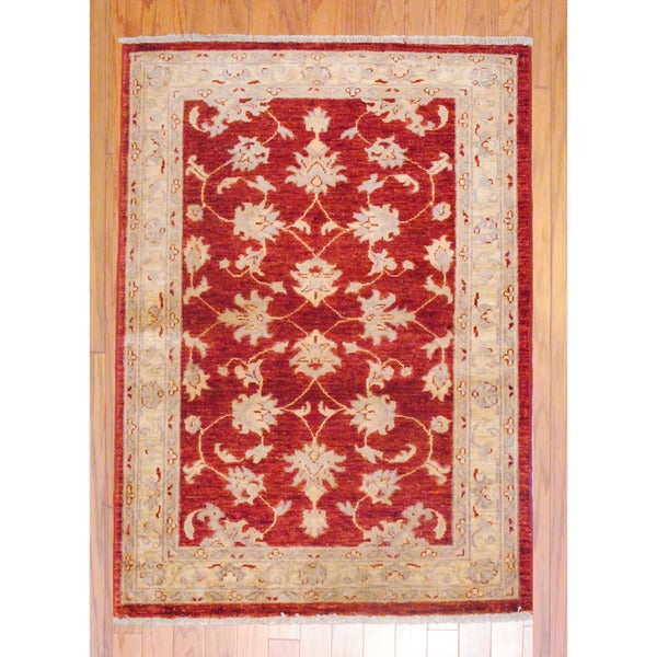 Afghan Hand-knotted Vegetable Dye Burgundy/ Beige Wool Rug (3'4 x 4'8)