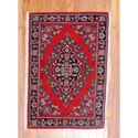 Persian Hand-knotted Tribal Kashan Red/ Navy Wool Rug (2'10 x 4')