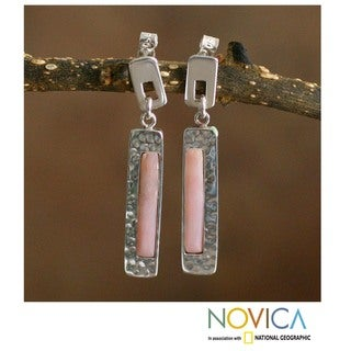 Silver 'Sweet Pink' Rose Opal Earrings (Peru)