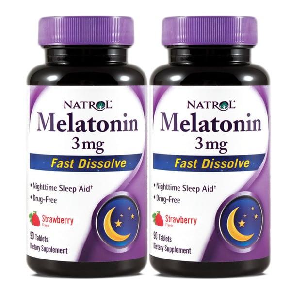 Melatonin 3mg Fast Dissolve Tablets (180 Count) (Pack of 2)
