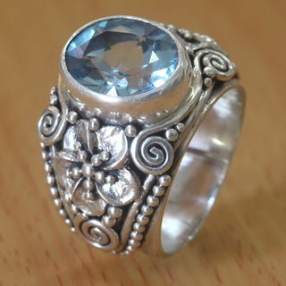 Sterling Silver 'Blue Frangipani' Blue Topaz Ring (Indonesia)