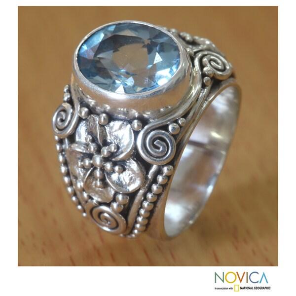 Sterling Silver 'Blue Frangipani' Blue Topaz Ring (Indonesia)