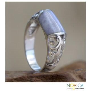 Sterling Silver 'Lily Maya' Jade Domed Ring  (Guatemala)