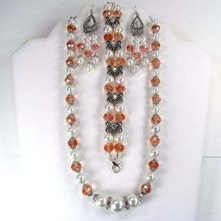 Silverplated White Glass Pearl and Salmon Crystal Jewelry Set