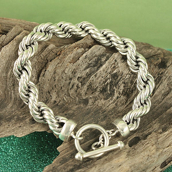 Handcrafted Sterling Silver Antique Rope Toggle Bracelet (Mexico)
