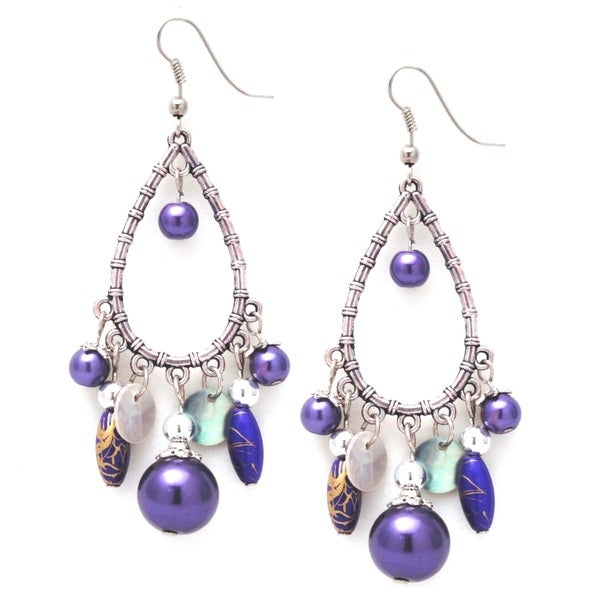 Handmade Bleek2Sheek Glass Pearl Silver Chandelier Dangle Earrings (USA) 10406833