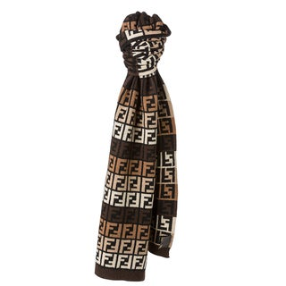 Fendi Brown and Beige Zucca Knit Scarf