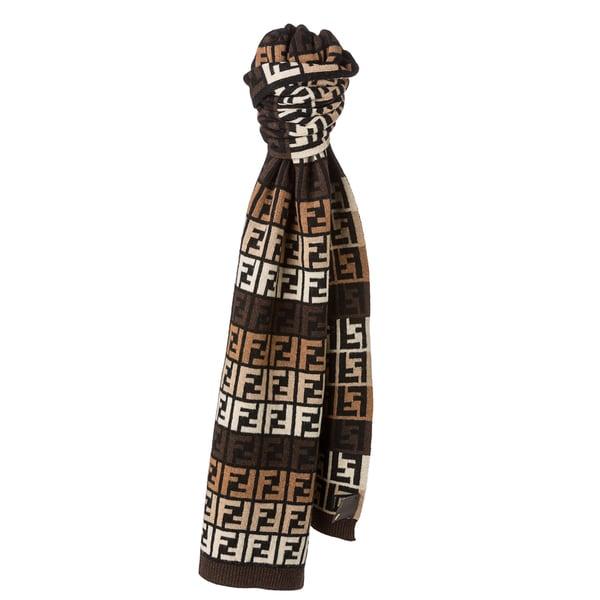 Fendi Brown and Beige Zucca Knit Scarf