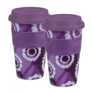 Konitz 'Batik Purple' Porcelain Medium Travel Mugs (Set of 2)