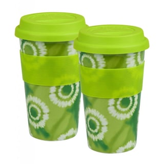 Konitz 'Batik Green' Porcelain Medium Travel Mugs (Set of 2)