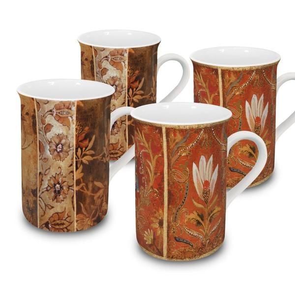 Konitz 'Tapestry' Floral Porcelain Mugs (Set of 4)