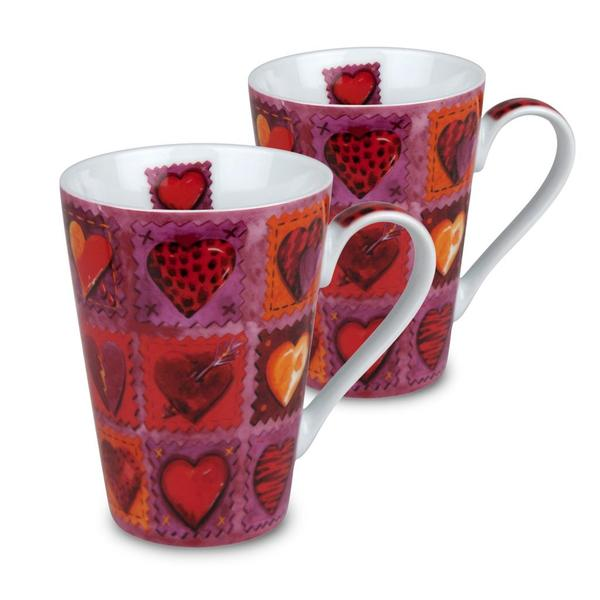 Konitz 'Hearts on Patches' Porcelain Mugs (Set of 2) 10406867