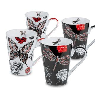 Konitz 'Dragonfly/ Butterfly' Porcelain Mugs (Set of 4)