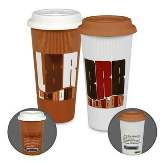 Konitz 'Gen Why?' White/ Brown Porcelain Travel Mugs (Set of 2)