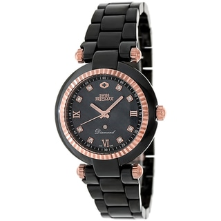 Swiss Precimax Women's Black Ceramic Avant Diamond Watch