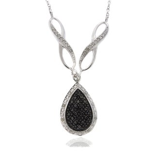 Finesque Silver 1/4ct TDW Black and White Diamond Teardrop Necklace (I-J, I2-I3)