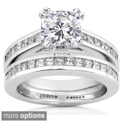 14k White Gold Moissanite and 1ct TDW Princess-cut Diamond Bridal Ring Set (H-I, I1-I2)